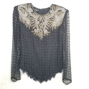 EUC Laurence Kazar Black Long Sleeve Blouse Size M